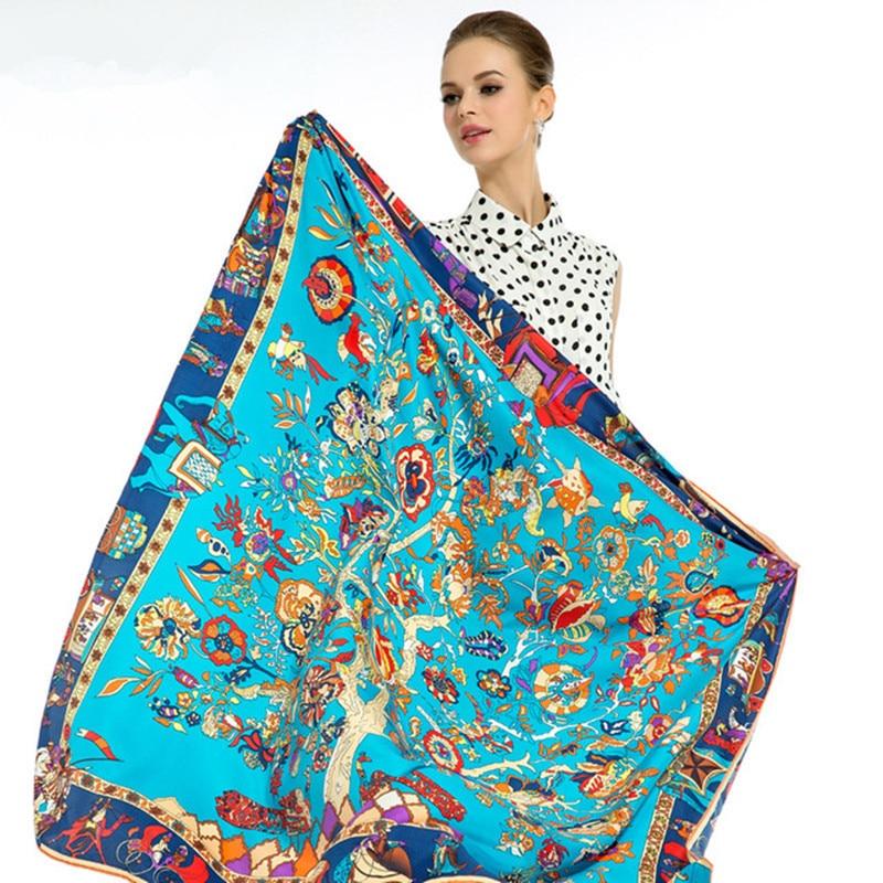 100% Twill Silk Women šátek Evropský klasický kůň Totem Tree Print Štrasové šály Turban Čelenka Značka Luxusní Shawl Hijab