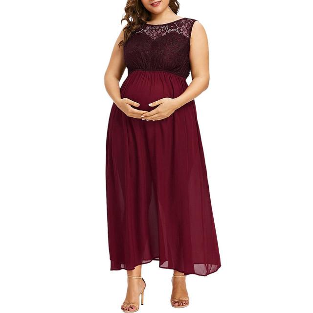 Women O-Neck Plus Size Pregnant Maternity Solid Sleeveless Nursing Lace Chiffon Dress Elegant Photography Maternity Clothing