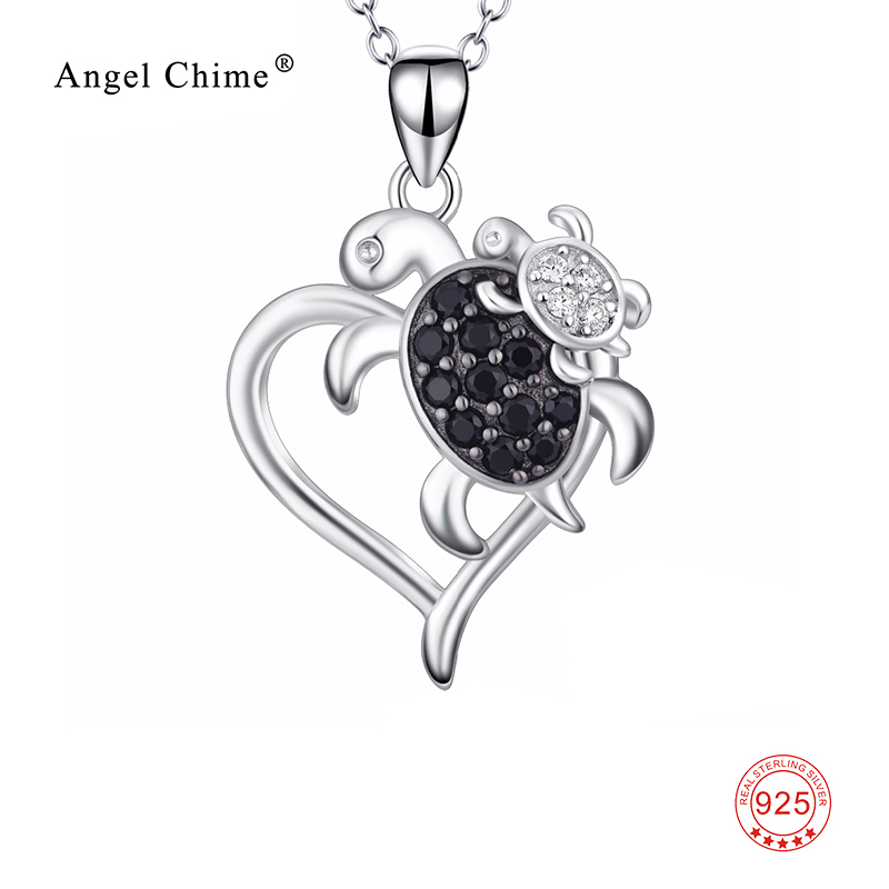Femmes mode tortue mère et enfant cristal collier de déclaration 925 en argent Sterling tortue pendentif collier Kolye