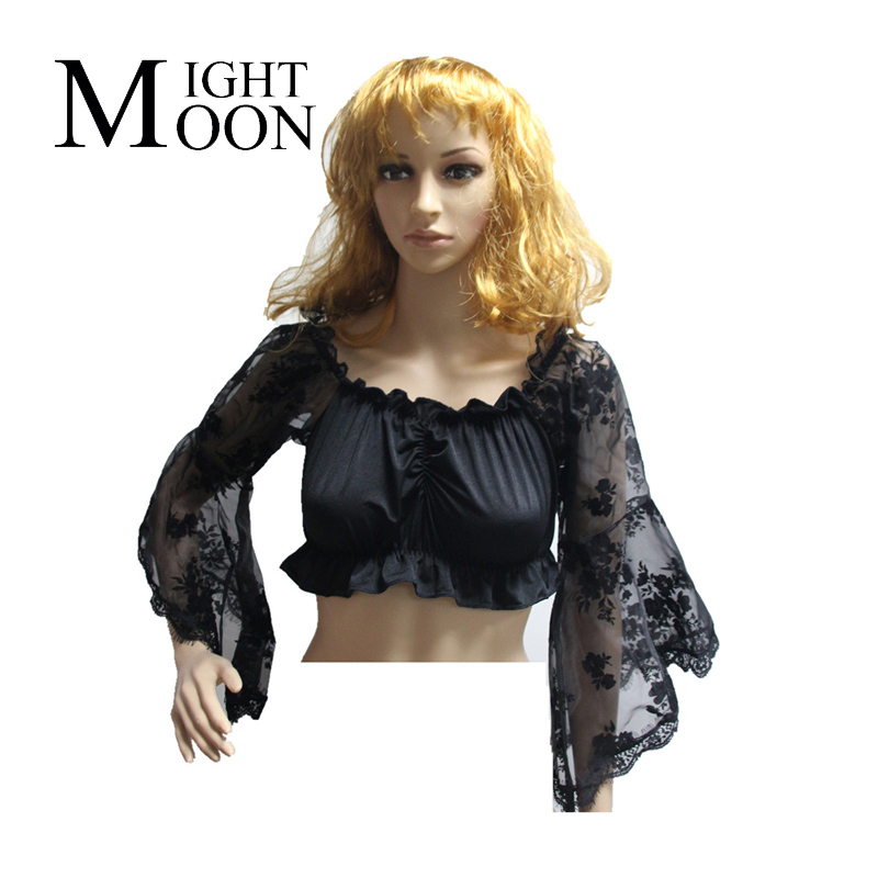 MOONIGHT Sexy Women Tube Tops Black Strapless Long Sleeve Wrap Chest Crop Top Lace Sleeve Women Clothing