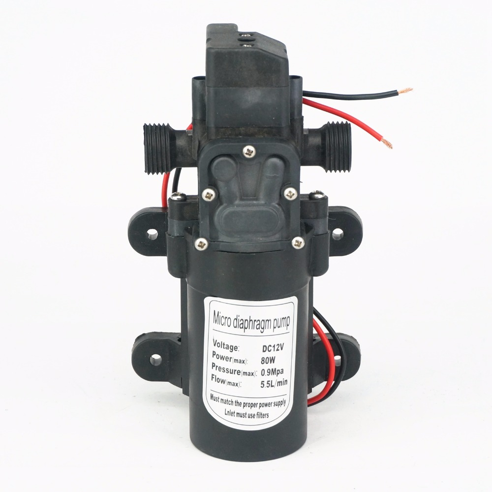 1/2 BSP Male 12V DC 80W Diaphragm Water Pump Self-priming Booster With Automatic Pressure Switch 330L/H Home Garden
