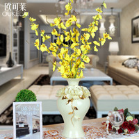 Châu âu Gốm handmade flower cá bình nhảy múa ngọc bích màu xanh sứ mạ vàng bảng tính năng hàng thủ công đồ trang trí