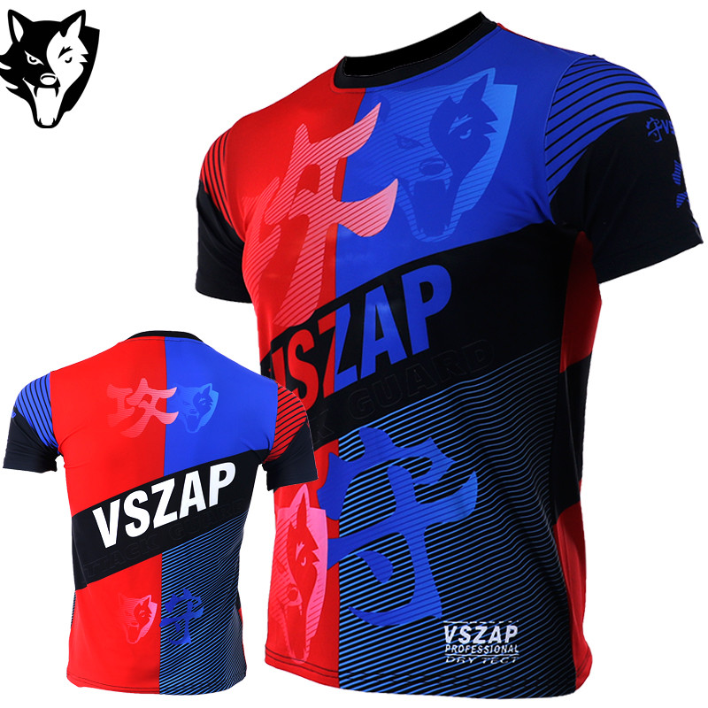 VSZAP Fighter Shirt Muay Thai MMA Fitness Sport T-Shirt Kickboxen Schwarz Herren Quick Dry Muay Thai Bjj Jerseys