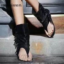 Fashion Bohemia Summer Boots Black Genuine Leather Women Flat Sandals Tassel Cool Rome Gladiator Sandal Fringe Shoes Woman