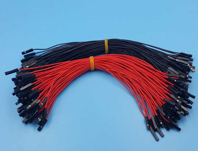 100Pcs 2.54mm 1P 1P Female to Female Dupont Wire 20cm Jumper Red ...