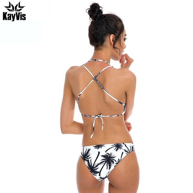 KayVis Hot Sexy Bikini Halter Top Girls Swimwear Women Push up Swimsuit High Neck Brazilian Bikini Set Beach Wear Bathing Suit