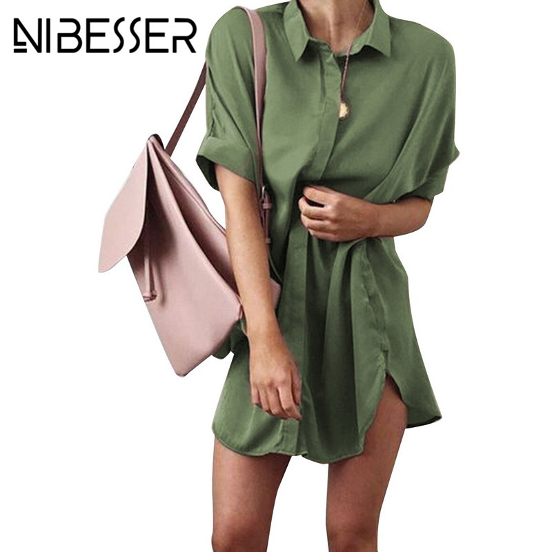 NIBESSER New Long Shirt Women Short Sleeve Casual Large Size Spring Summer 2018 Vintage Satin Blouse Top Female Blusas Clothes
