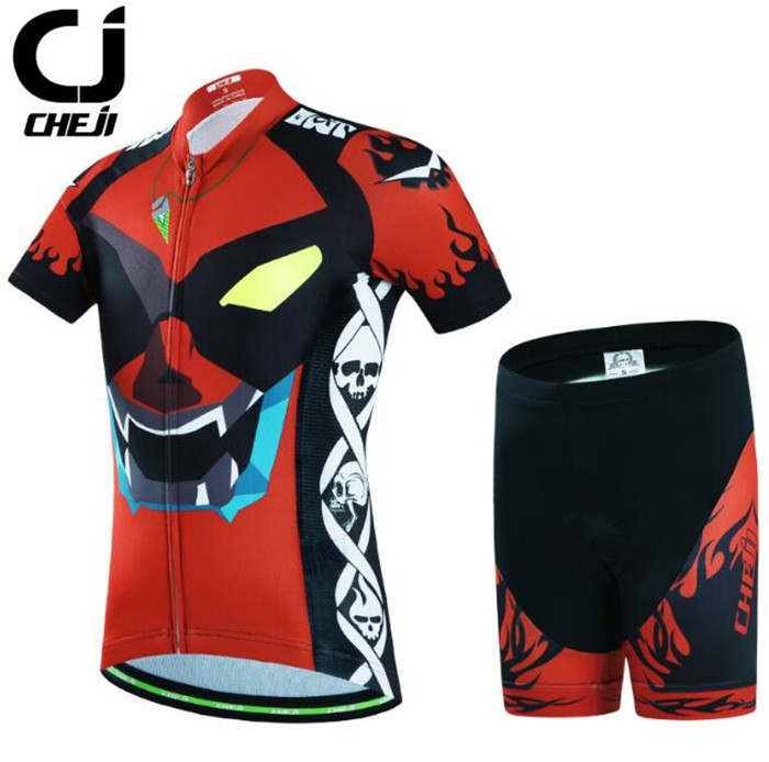 CHEJI Short Sleeve Cycling Jersey Sets Ropa Ciclismo Kids Breathable Cycling Clothing Children Summer Bicycle Bike Clothes cheji 2017 child short sleeve cycling clothing bike jersey shorts sets ciclismo boys girls team bicycle kids mtb shirts suits
