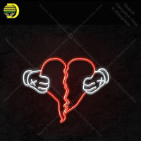 Neon Sign for Tear heart with hands Glass Tube Handmade neon light Sign Decorate Wall home Beer Iconic Neon Light Lamp Advertise