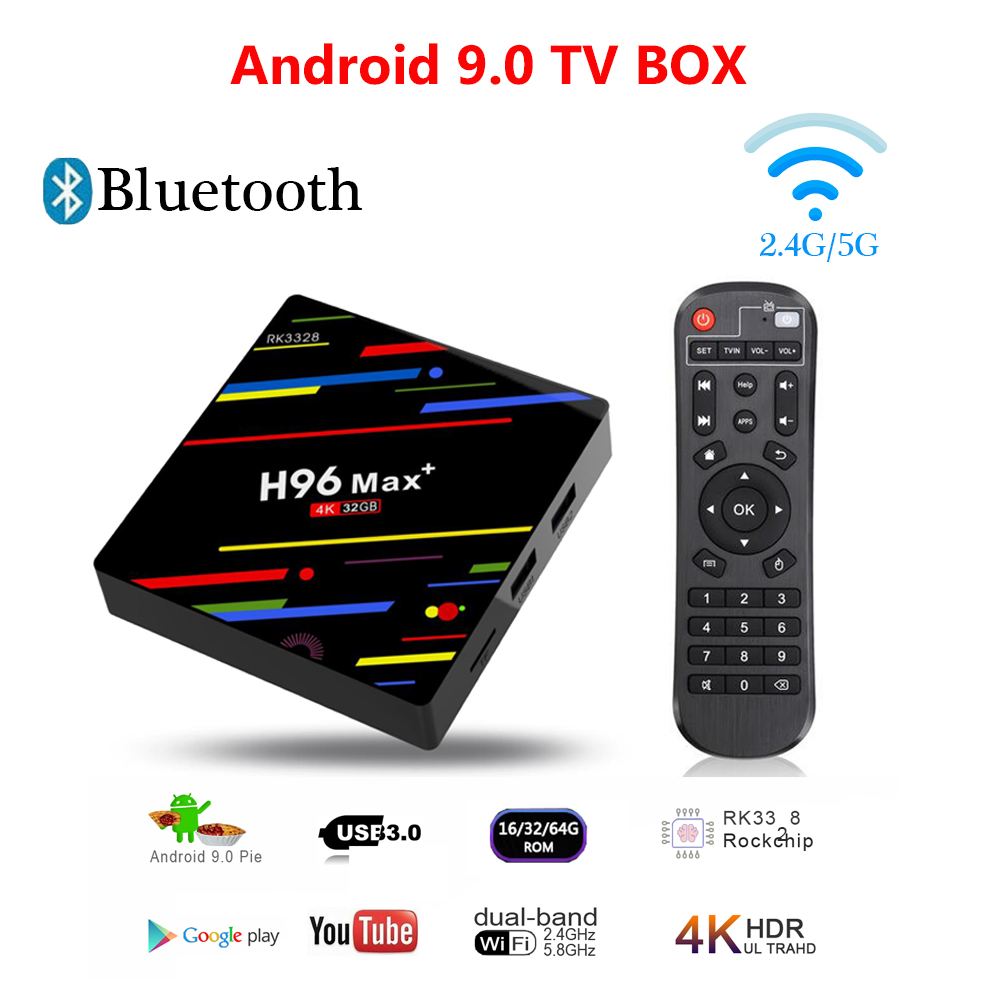 H96 MAX+ Smart TV BOX Android 9.0 BOX RK3328 IPTV Box 4K Media Player WIFI Set Top Box For 4K Youtube Netflix Google Play