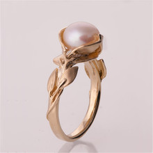 hot deal buy wholesale new arrivals special offer leaf rose gold pearls rings women round pearls hollow engraved wedding party jewelry gift