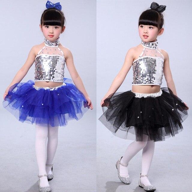 Новые Детские Джаз Танец Платья для женщин юбка-пачка для девочек блесток современные танца костюмы для детей Костюмы для бальных танцев танцевальный конкурс Платья для женщин