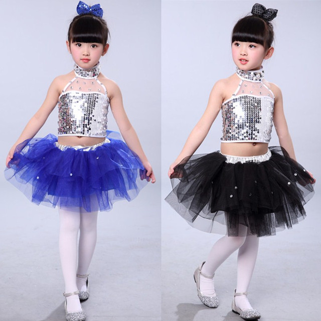 19d05deccc46 New Children Jazz Dance Dresses Girls Tutu Sequin Modern Dance ...
