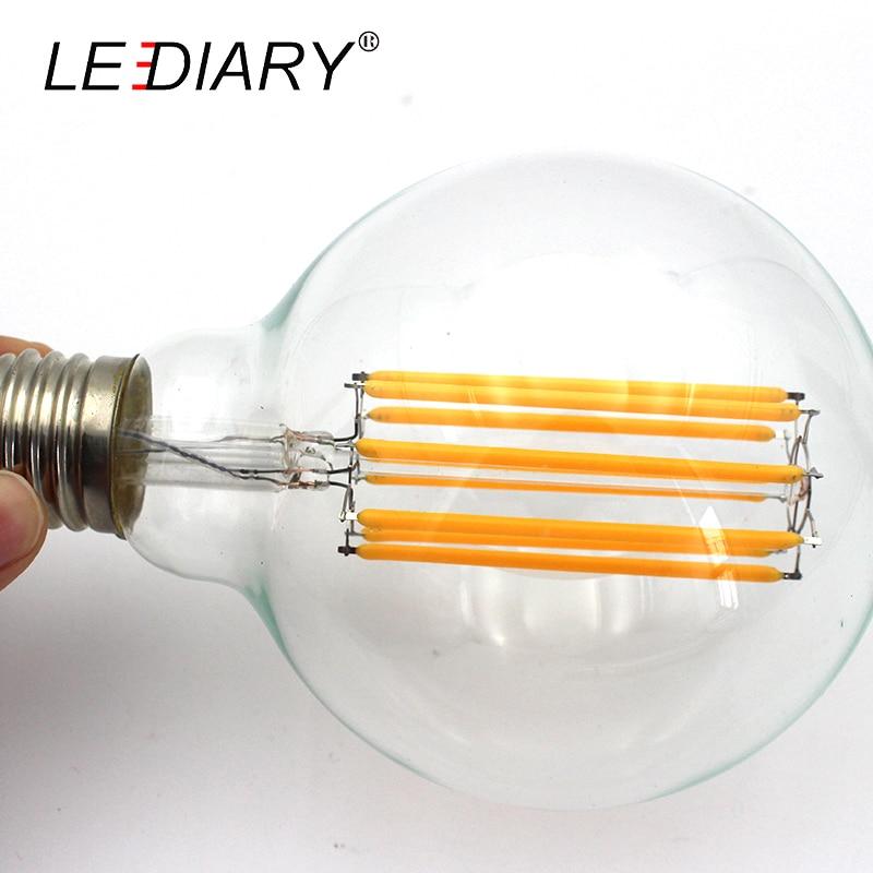Купить с кэшбэком ZMISHIBO LED Filament Bulb 110V/220V 8W 10W G125 G95 G80 A60 E27 Warm White Clear Glass Global Light Ball Light Lamp D95*H135mm