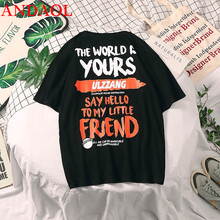 ANDAOL Mens Casual T-Shirts Top Quality Print Letter O-Neck Cotton Loose Half Sleeve T Shirt Fashion Trend Hip Hop Tee