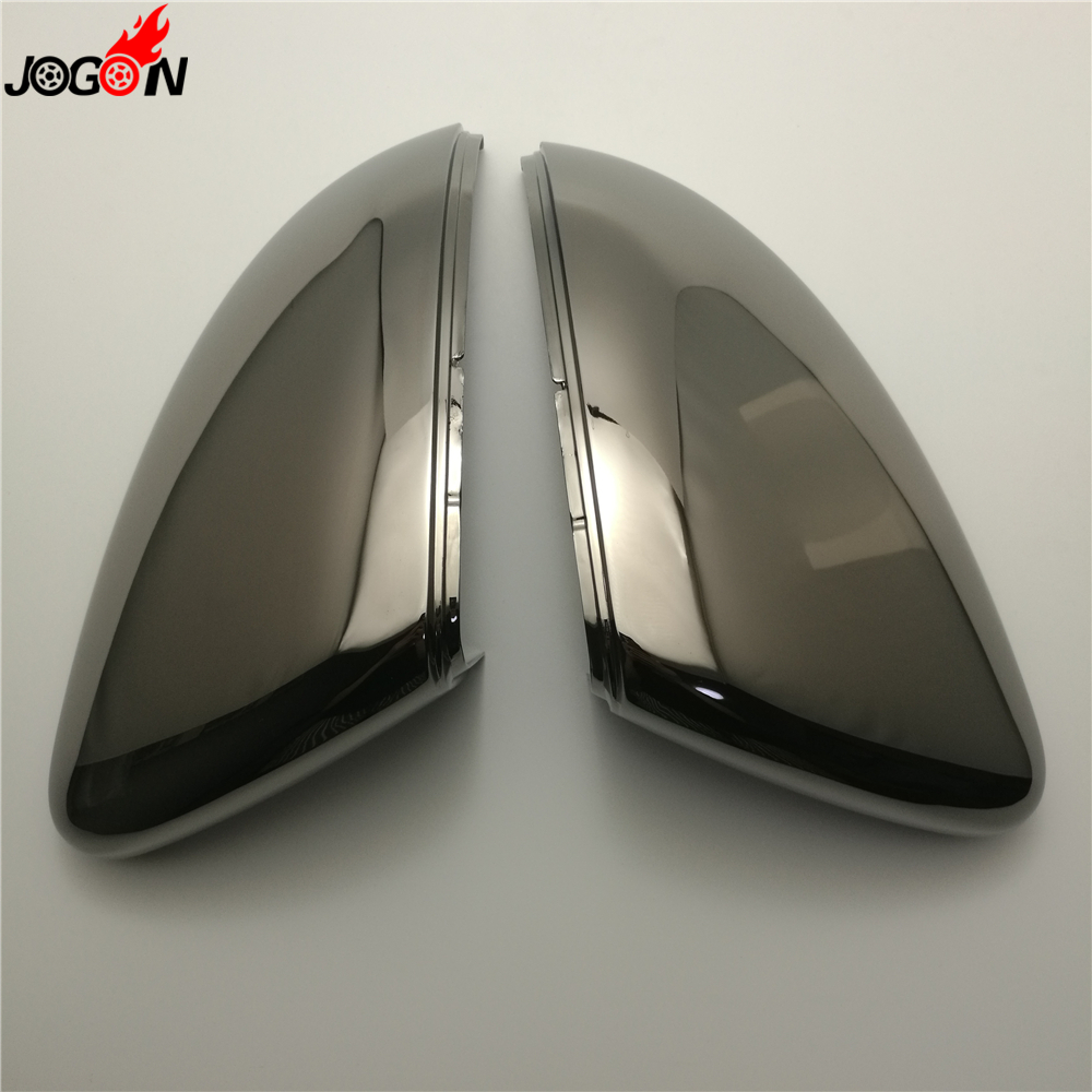 Gloss Tungsten Black ABS Chrome Side Wing Replace Rearview Mirror Cover For VW GOLF 7 MK7 GTI R 2014- 2017 1pair 43cm 3color set abs chrome headlight front light lamp eyelids cover trim for vw golf 7 gti mk7 page 2