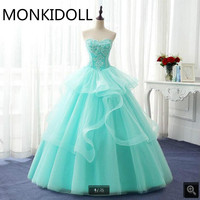 2017 Latest Style Ball Gown Sky Blue Princess Prom Dress Lace Appliques Beading Pearls Corset Ruffled