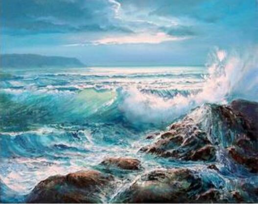 8844 Waves Crashing on Rocks - Paint by Numbers Kits for Adults DIY(China)