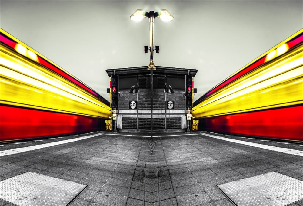 Laeacco Railway Station Light House Mirror Image Photographic Backgrounds Customized Photography Backdrops For Photo Studio