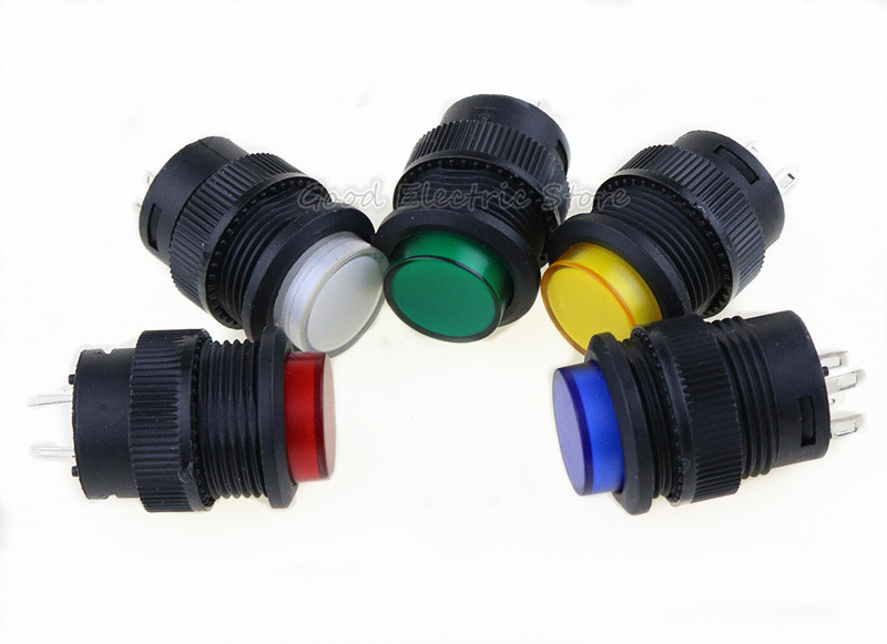 5PCS self-lockin 16MM Latching/Momentary push button switch with 5Color LED lighting 4Pin R16-503/AD R16-503/BD