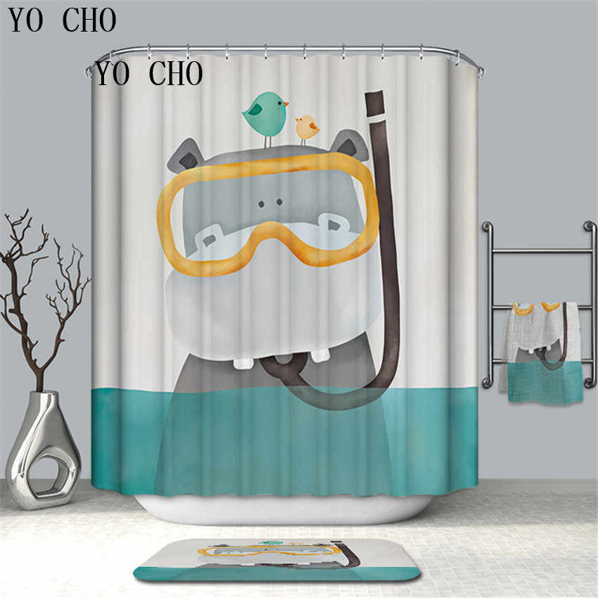 YO CHO Abstract Art Style Animal Musical Instrument Shower Curtain 3D Thickened Bathroom Curtains Moldproof Waterproof Curtains
