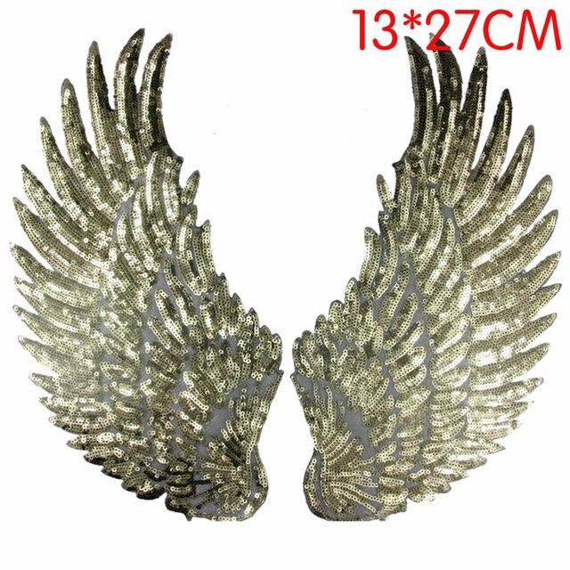Groovy 1 para srebrny złoty cekiny patch DIY skrzydła łatki aplikacje na OO62