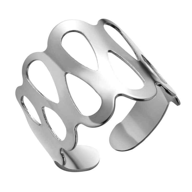 ปรับเปิดแหวนลายหัวใจดอกไม้เรขาคณิตเปิดแหวนสแตนเลสผู้หญิงผู้ชาย Punk Knuckle แหวน
