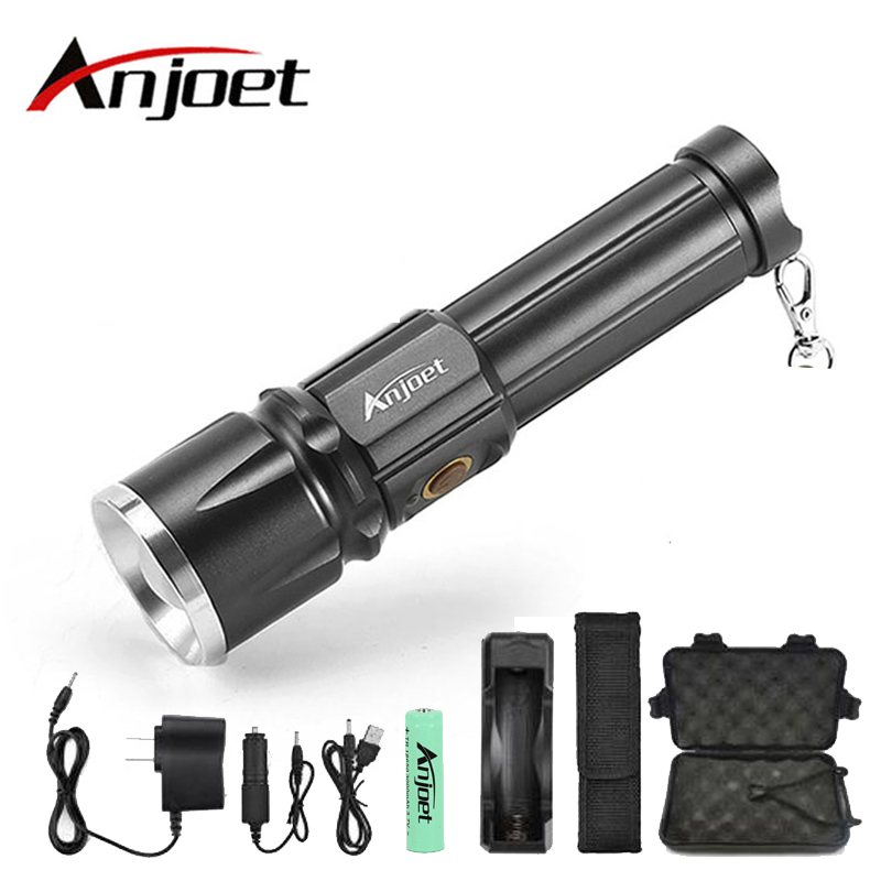 Anjoet <font><b>X900</b></font> CREE XML T6 LED Zoom flashlight Torches Zoomable Flashlight lanterna illumination With 26650 Battery USB charge image