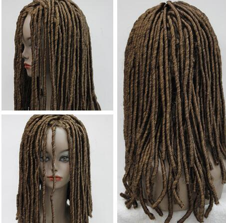 Hot heat resistant free shipping>>> Dreadlock Style Full Wigs Long Curls Rolls Hair Drama Cosplay Blonde Party Wig