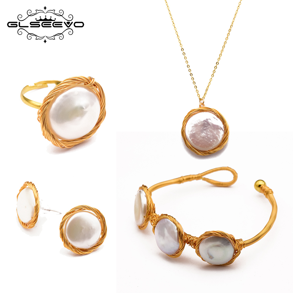 GLSEEVO Original Handmade Natural Fresh Water Baroque Pearl Ring Necklace Earrings Bangle Set For Women Fine