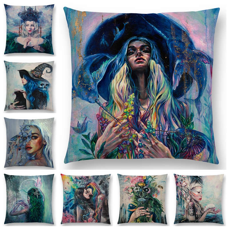 Gorgeous Oil Painting Cushion Cover Miracle Girl Wonder Beauty Magic Witch Beautiful Queen Narwhal Cat Swan Sofa Pillow Case