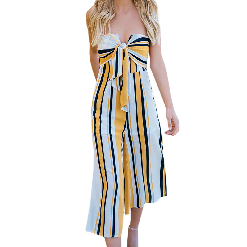 New Quality Women Jumpsuits Sexy Off Shoulder Wrapped Bow Stripe Long Panties Jumpsuit Summer Beach Straight Playsuits Clothing
