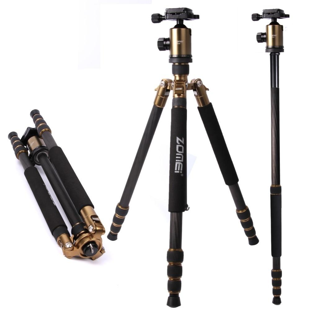 ZOMEI Golden Color Z888C Professional Travel 3 way usage Carbon fiber camera tripod Monopod&Ball head for DSLR camera