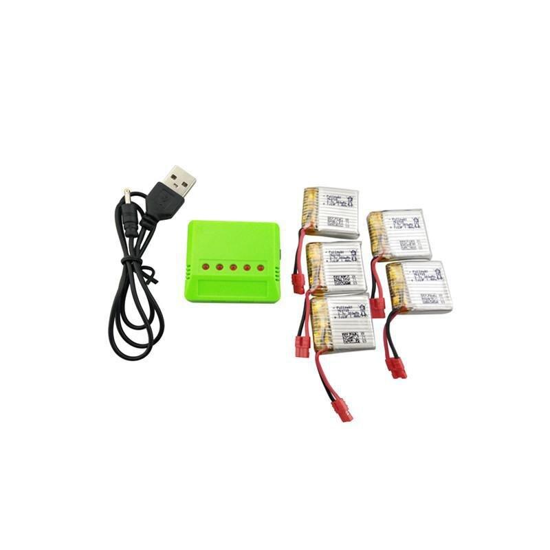 LeadingStar 5 pcs 3.7 v 380 mah Batterie Au Lithium avec 5-en-1 Équilibré Chargeur pour SYMA X21 x21W Quadcopter Pièces De Rechange Drone Batterie