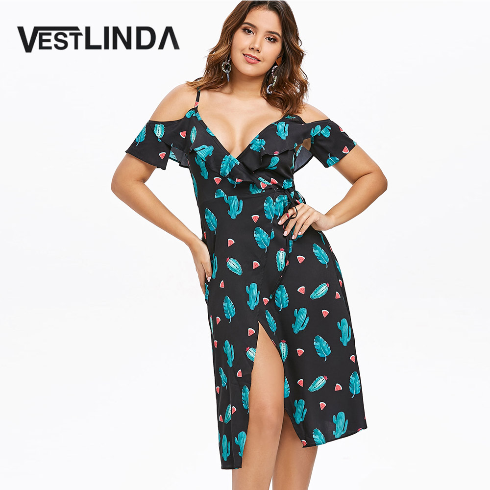 Detail Feedback Questions about VESTLINDA Tropical Dress Ruffle Cactus  Watermelon Print Cold Shoulder Casual Dress Tunic Women Summer Vestidos Midi  Wrap ... 1185904bbc6d