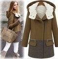 2016 Mulheres Novas de Inverno da Cor do Contraste Fashion Turn-Down Collar Zipper Completo Manga Grosso Trincheira HRL041