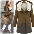 2016 New Winter Women Fashion Contrast Color Turn-Down Collar Zipper Full Sleeve Thick Trench HRL041
