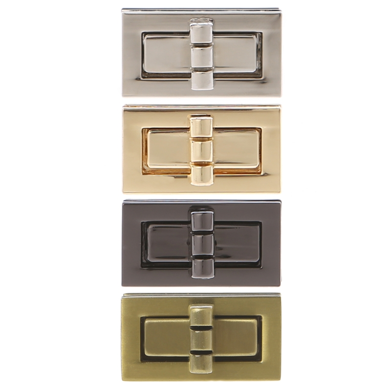 THINKTHENDO Rectangle Shape Clasp Turn Lock Twist Locks DIY Leather Handbag Bag Hardware Metal Elegant New Bag Accessories