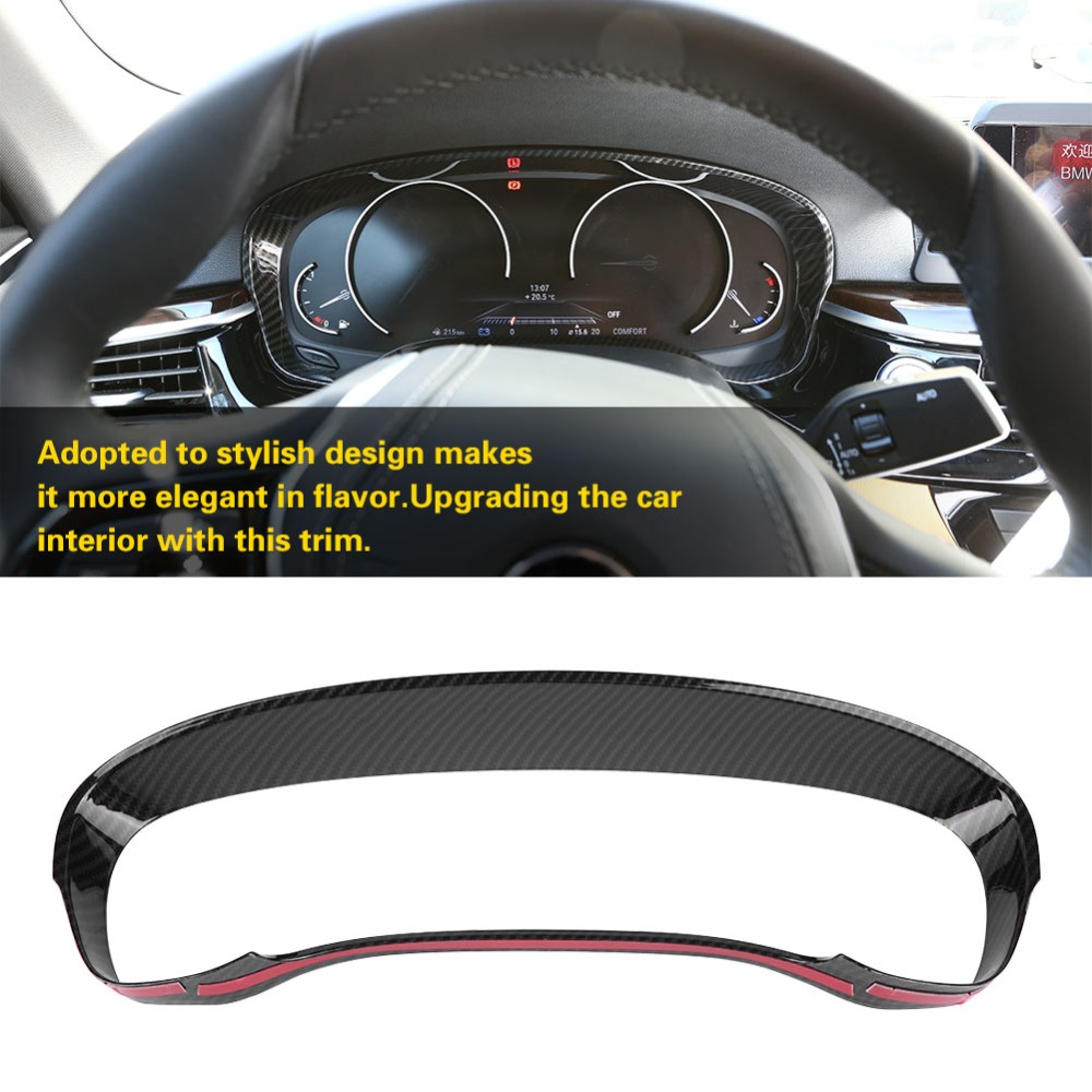 Carbon Fiber Styling Panel Frame Decal Cover Trim for BMW 5 Series G30 G31 G38 from 2016 Dashboard Instrument Media CD Control Panel Frame, Classic