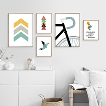 Minimalist Abstract Geometry Art Canvas Painting Print Cartoon Bike Poster Wall Pictures For Living Room Modern Home Decor
