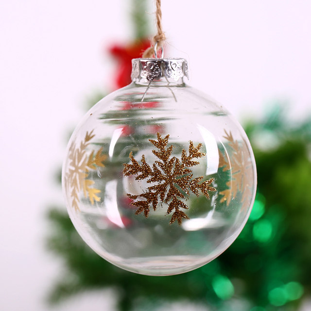 handmade 8cm gold colored drawing glass ball holiday decoration christmas tree decoration supply