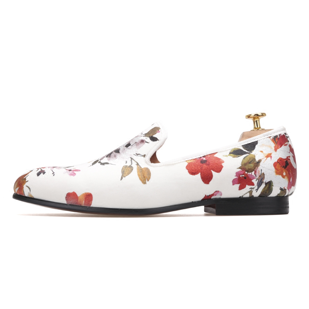 Men's Shoes Flower Wedding Hand-European White Stretch-Cloth Bronze American Low-Cost