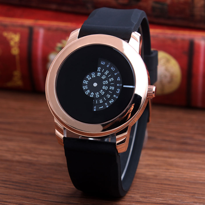 New Arrive Men Gifts Brief Design Black Rubber Strap Creative Turntable and Unique Design for Young Fashion Quartz Wrist Watches ...