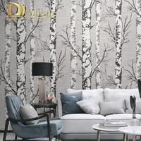 Black White 3D wood grain Nordic ins wallpaper retro restaurant living room clothing store birch tree forest wallpaper