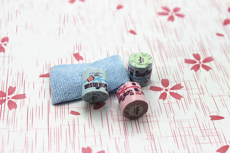 1:12 Colorful 3 Pcs Toilet Paper Set Dollhouse Bathroom Accessory