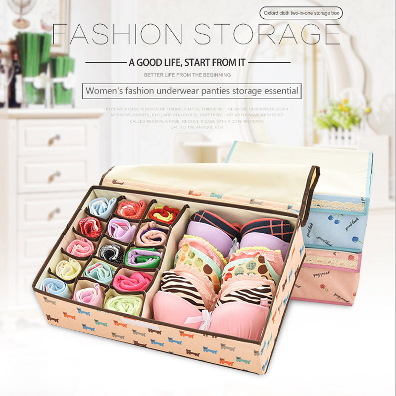 Multifunction Waterproof 13 Grids  Scarfs Socks Bra Case Home Storage Kit Foldable Save Space Oxford Cloth Underwear Storage Box(China)