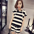 two piece set 2016 new fashion Korean Leisure time stripe Hooded Tie Thin 2 piece set women harajuku shorts t shirt women