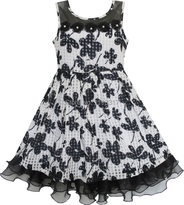 Sunny Fashion Girls Dress Lace Tulle Flower Transparent Shoulder Black 2016 Summer Princess Wedding Party Dresses