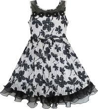 Sunny Fashion Robe Fille Dentelle Tulle Fleur Transparent Épaule Noir