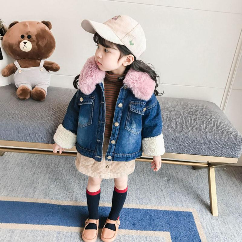 DFXD Winter New Fashion Toddler Girls Long Sleeve Denim Jeans Single-breasted Fur Collar Thicken Velvet Outwear Kids Warm Coat